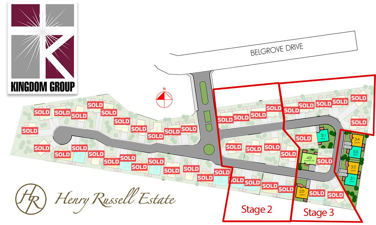 Henry Russell Estate Sections available for sale, in a Freehold Lifestyle Gated Community Village In Central Hawkes Bay.