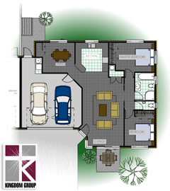 Rata (double garage, version 2) - Henry Russsell Estae home for sale with single bathroom, two bedroom, and double garage, version two - thumbnail.